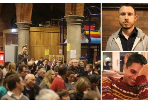 Matt addressing election candidates at the West Hampstead Hustings